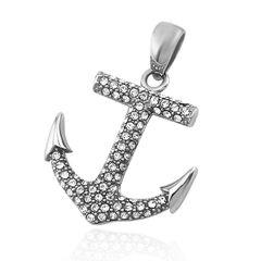 Anhänger Anker Anchor Halskette Zirkonia Kristalle Lederkette Kugelkette Damen Herren