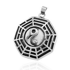 Anhänger Yin Yang Acht Trigramme Bagua Edelstahl Halskette Lederkette Kugelkette Herren Damen