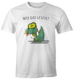 """Herren T-Shirt Fun Motiv kleiner Dino frisst Einhorn Spruch """"Wie das Letzte?"""" Fun-Shirt lustig Moonworks®"""