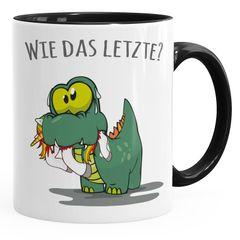 """Kaffee-Tasse Fun Motiv kleiner Dino frisst Einhorn Spruch """"Wie das Letzte?"""" Bürotasse lustige Kaffeebecher MoonWorks®"""