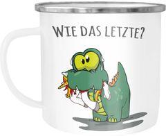 """Emaille-Tasse Fun Motiv lustiger Dino frisst Einhorn Spruch """"Wie das Letzte?"""" Emaille-Becher Moonworks®"""