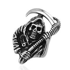Anhänger Totenkopf Sensenmann Edelstahl Halskette Lederkette Gothic Biker Kugelkette Herren Damen