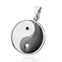 Anhänger Yin Yang Edelstahl Halskette Lederkette Kugelkette Herren Damen