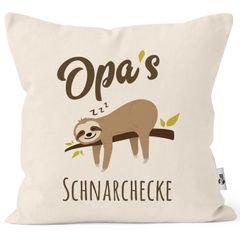 Kissen-Bezug Spruch Opa's Oma's Mama's Papa's Schnarchecke Faultier Print Kissen-Hülle Deko-Kissen Baumwolle MoonWorks®