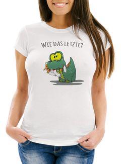 """Damen T-Shirt Fun Motiv kleiner Dino frisst Einhorn Spruch """"Wie das Letzte?"""" Fun-Shirt lustig Moonworks®"""