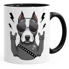 Kaffee-Tasse mit Motiv Hund Heavy Metal Comicstil Metalhand Bürotasse lustige Kaffeebecher MoonWorks®
