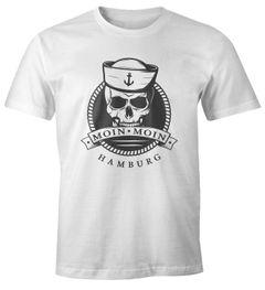 Herren T-Shirt Totenkopf Matrose Anker Motiv Skull Emblem Schriftzug Moin Moin Hamburg Fun-Shirt Spruch Moonworks®