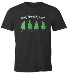 Herren T-Shirt Fun-Shirt Spruch lustig lauf Forest lauf Baum Motiv Parodie Filmzitat Wortspiel Moonworks®