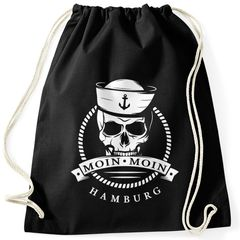 Turnbeutel Totenkopf Matrose Anker Motiv Skull Emblem Schriftzug Moin Moin Hamburg Moonworks®
