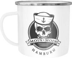 Emaille Tasse Becher Totenkopf Matrose Anker Motiv Skull Emblem Schriftzug Moin Moin Hamburg Kaffeetasse Moonworks®