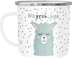 Emaille-Tasse Becher Spruch No Prob Lama Motiv lustig Kaffeetasse Kindertasse Moonworks®