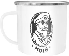 Emaille Tasse Becher Kapitän Seemann mit Pfeife Schriftzug Moin Kaffeetasse Moonworks®