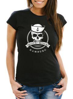 Damen T-Shirt Totenkopf Matrose Anker Motiv Skull Emblem Schriftzug Moin Moin Hamburg Spruch Frauen Fun-Shirt Moonworks®