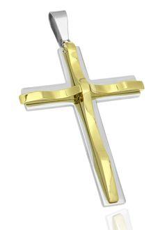Kreuz Anhänger Halskette Edelstahl Herren Damen Zwei-Schicht-Optik Kugelkette Lederkette