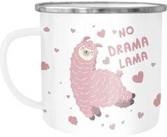 Emaille Tasse Becher Spruch No Drama Lama Tier Motiv rosa Kaffeetasse Kindertasse Moonworks®