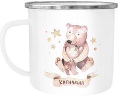 Emaille-Tasse mit Namen Bären Motiv Emaille-Becher personalisierte Geschenke Frauen Mädchen Namensbecher SpecialMe®
