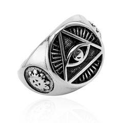 Freimaurer Ring Herren Edelstahl Allsehendes Auge der Vorsehung Dreieck Masonic Siegelring
