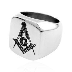 Freimaurer Ring Herren Edelstahl Winkel Zirkel Masonic Siegelring
