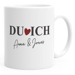 personalisierte Kaffee-Tasse Du Ich mit Namen Herz Liebes-Geschenk Freundin Mann Geschenk-Tasse SpecialMe®