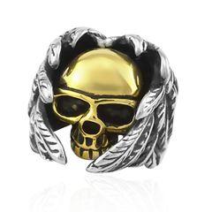 Totenkopf Ring Herren Edelstahl Flügel Biker Skull Gothic Massiv Zweifarbig Gold Silber Punk Rocker