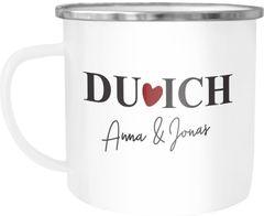 """Emaille-Tasse personalisiert Liebe """"Du Ich"""" mit Namen Geschenk zu Valentinstag Weihnachten Hochzeitstag SpecialMe®"""