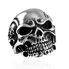 Totenkopf Ring Herren Edelstahl Biker Skull Gothic Massiv