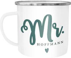 Emailletasse Becher Emaille Mr & Mrs personalisierbarer Nachname personalisierte Geschenke Hochzeitsgeschenk SpecialMe®