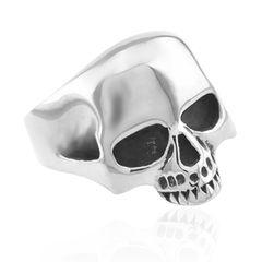 Totenkopf Ring Herren Damen Edelstahl Biker Skull Gothic Massiv Silber Schwarz