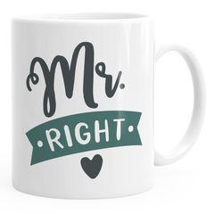 Kaffee-Tasse Aufdruck Mr. / Mrs. Right Herz Partnergeschenk Paar Liebe Hochzeitstag Moonworks®