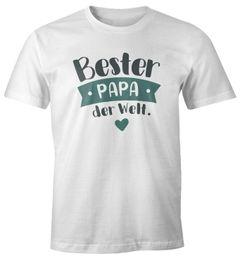 Herren T-Shirt Geschenk Papa Väter Aufdruck Spruch Bester Papa der Welt Danke sagen Moonworks®