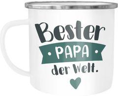 Emaille Tasse Becher Beste/r Mama/Papa Geschenk Mama Papa Geburtstag Weihnachten Danke sagen Kaffeetasse Moonworks®