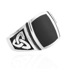 Freimaurer Ring Herren Edelstahl Keltischer Knoten Masonic Schwarz Massiv