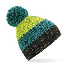 Strickmütze Damen Grobstrick Pudelmütze dreifarbig mehrfarbig Ombré Bommelmütze Winter-Mütze Neverless®