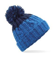 Strickmütze Damen Grobstrick Pudelmütze zweifarbig Ombré Farbverlauf Bommelmütze Winter-Mütze Neverless®