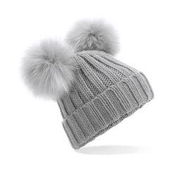 Damen Strickmütze warm Wintermütze Bommelmütze Doppelbommel 2 Bommel schwarz grau Neverless®