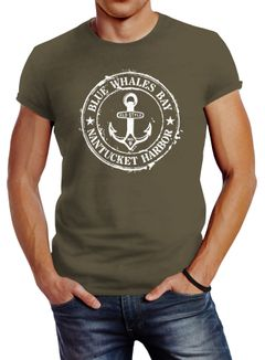 Herren T-Shirt Anker Motiv maritim Retro Badge Vintage Anchor Print Neverless®
