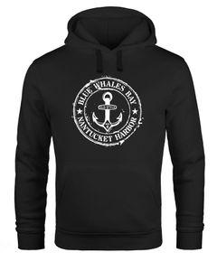 Hoodie Herren maritimes Anker Motiv Anchor Print Vintage Stil Kapuzen-Pullover Männer Neverless®