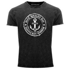 Herren Vintage Shirt Anker Motiv maritim Retro Anchor Badge Vintage Printshirt Used Look Slim Fit Neverless®