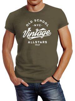 Neverless® Herren T-Shirt College Style Schriftzug Oldschool Vintage Allstars Fashion Streetstyle