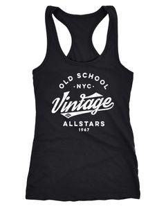 Damen Tank-Top College Style Retro Schriftzug Oldschool Vintage Allstars Racerback Neverless®