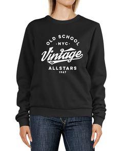 Sweatshirt Damen College Style Retro Schriftzug Oldschool Vintage Allstars Rundhals-Pullover Pulli Sweater Neverless®