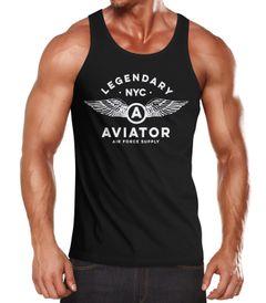 Herren Tank-Top Legendary NYC Aviator Air Force Luftwaffe Flügel Muskelshirt Muscle Shirt Neverless®