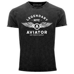 Herren Vintage Shirt Legendary NYC Aviator Air Force Luftwaffe Flügel Printshirt Used Look Slim Fit Neverless®