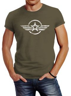 Neverless® Herren T-Shirt Airforce Aufdruck Emblem Fashion Streetstyle