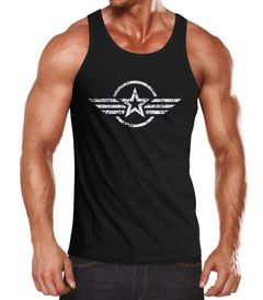Herren Tank-Top Shirt Airforce Symbol Stern Army Military Aufdruck Emblem Muskelshirt Muscle Shirt Neverless®