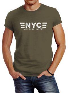Herren T-Shirt Aufdruck NYC New York City Airforce Supply Army Print Neverless®