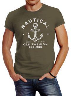 Neverless® Herren T-Shirt Anker Motiv Schriftzug Nautical Old Fashion Retro Design Fashion Streetstyle