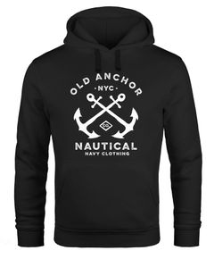 Hoodie Herren gekreuzte Anker Old Anchor Nautical Kapuzen-Pullover Männer Neverless®