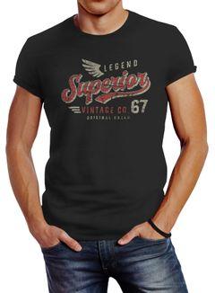 Neverless® Herren T-Shirt Vintage Retro Motiv Schriftzug Superior Legend Flügel Fashion Streetstyle
