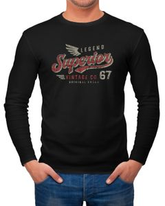 Herren Long-Sleeve Vintage Retro Motiv Schriftzug Superior Legend Flügel Langarm-Shirt Neverless®